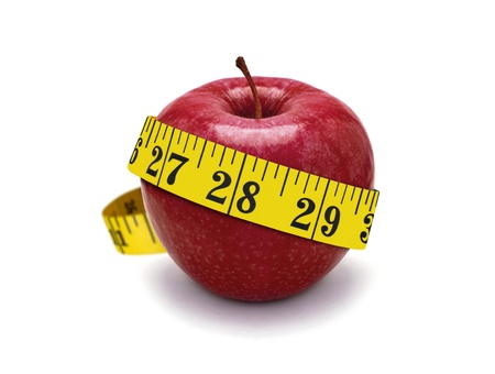 measurement tape: red apple and measurement tape