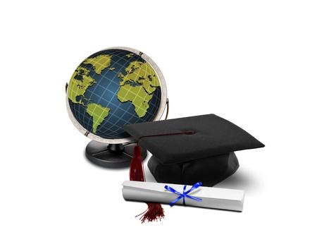 higher: Graduation hat and globe