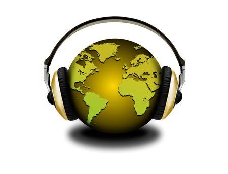 headphones and globe photo