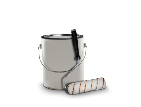 paint can: paint can and roller brush Stock Photo