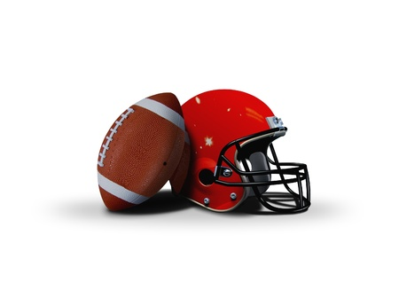Football ball and helmet over white