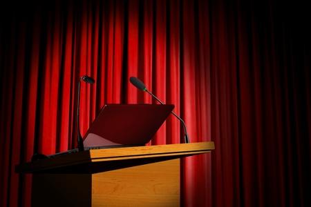 セミナーの表彰台と赤のカーテン