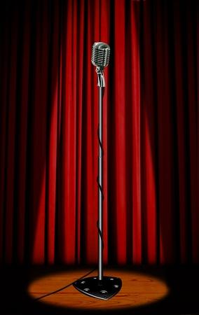 microfono antiguo: Micrófono Vintage con cortina roja