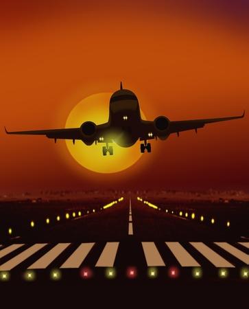 비행기는 활주로에서 이륙 스톡 콘텐츠