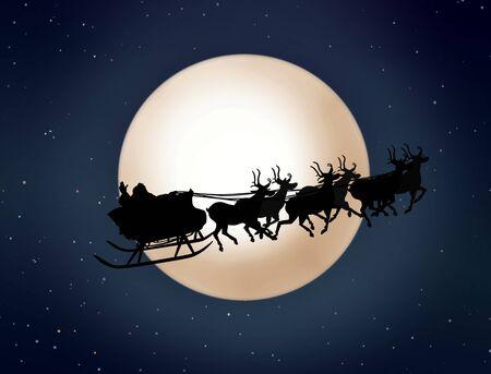 papa noel en trineo: Papá Noel en el trineo con renos Foto de archivo