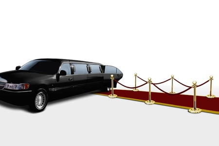 Limo and red carpet with open door photo