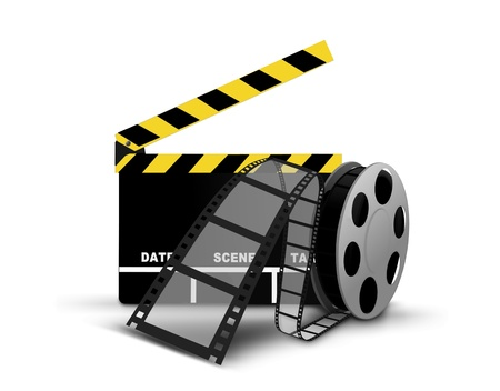 Clapperboard and film reel photo