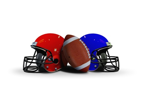 Football ball with two helmet photo