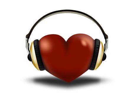 헤드폰과 심장 스톡 콘텐츠