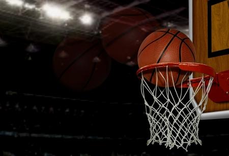 panier basketball: tir de basket-ball Banque d'images