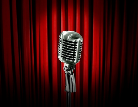 old microphone: retro microphone and red curtain