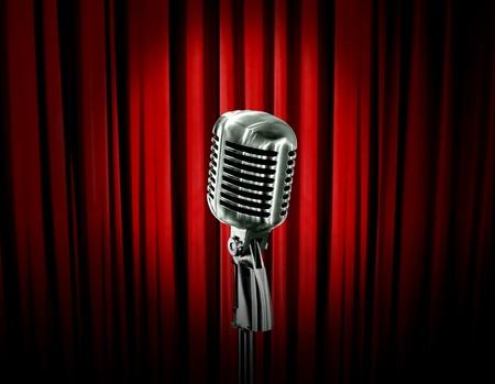 Retro-Mikrofon und rote Vorhang Standard-Bild - 11931752