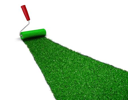 sward: Painted green grass Stock Photo