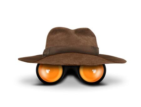 viajero: Cazadores de sombrero y binoculares Foto de archivo