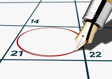 circled: fecha de calendario de un c�rculo con l�piz rojo Foto de archivo
