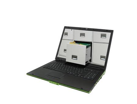 휴대용 퍼스널 컴퓨터와 파일 캐비닛 폴더 스톡 콘텐츠