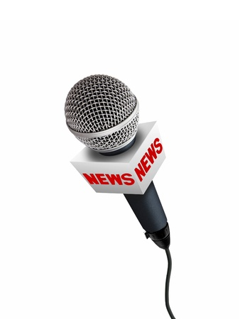 radio microphone: news microphones Stock Photo