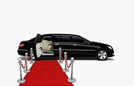 검은 색 리무진 및 레드 카펫