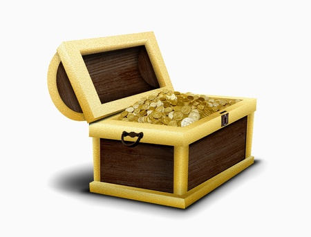 Chest full of gold coins photo