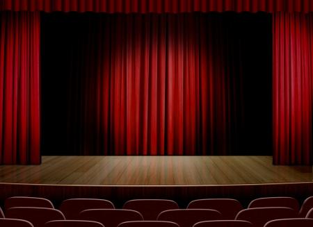赤いカーテンと空のステージ