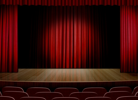 theaters: Empty stage with red curtain