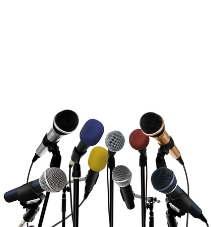 news room: Press conference with standing microphones