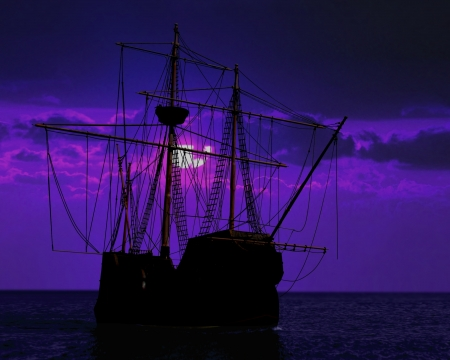 old moon: pirate ship docking under moon light Stock Photo