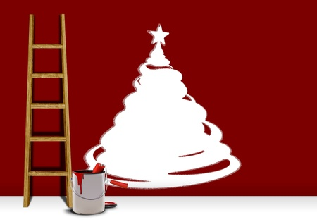 red paint roller: Paints a wall with a red color  xmas concept