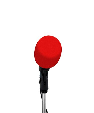 narrate: microphone with red cover