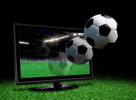 공은 LCD TV 화면에서 나오는 스톡 콘텐츠
