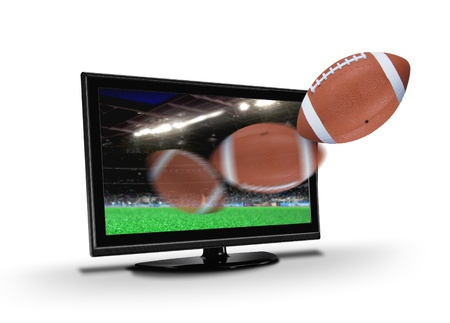 by the lcd screen: Football flying out from  TV LCD screen