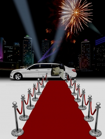 White limo and red carpet at night Stock Photo