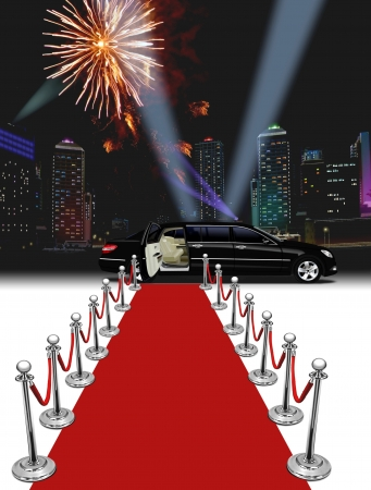 Black limo and red carpet at night