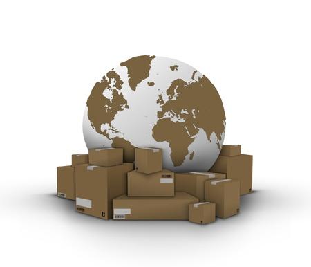 Boxen und Globus, Lieferung Konzept Standard-Bild - 15904766