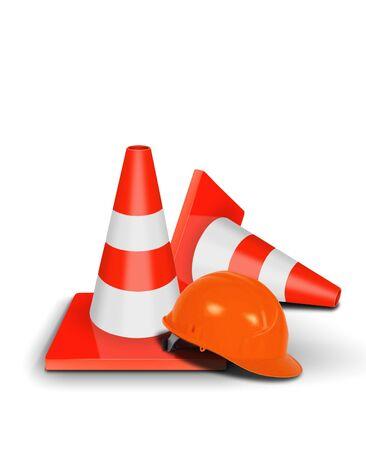 casco rojo: Tráfico cono y casco de seguridad