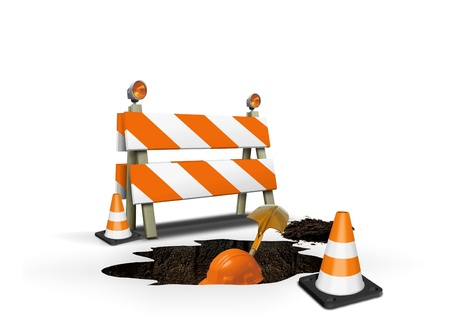 warning lights: Under construction- worker digging a hole Stock Photo