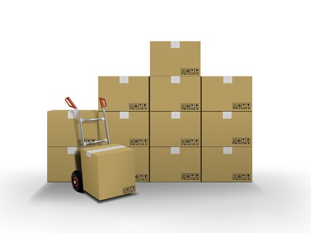 Delivery boxes and hand truck  photo