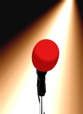 music hall: microphones under spotlight Stock Photo