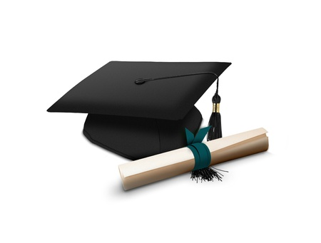 fondo de graduacion: Mortarboard y desplácese Foto de archivo