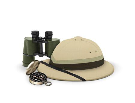 エクスプ ローラーの帽子および装置 写真素材