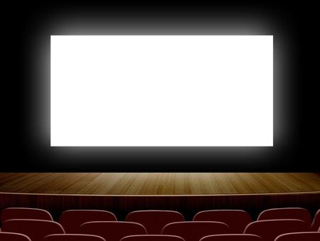 白い画面と座席が付いている映画館