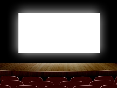 movie screen: Cinema with white screen and seats