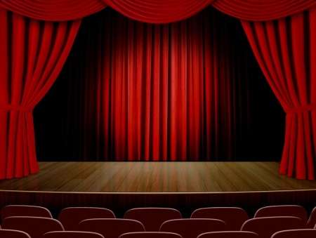 curtain theatre: Theater curtains and red seats