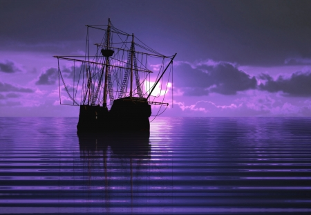 海賊船と日没