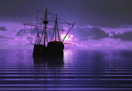barco pirata: Barco pirata y la puesta del sol
