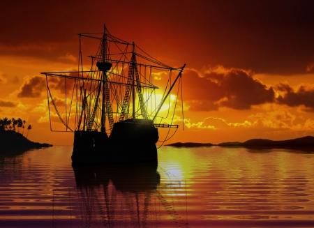 barco pirata: Barco de vela cerca de la costa durante la puesta del sol Foto de archivo