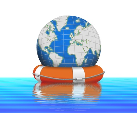 global crisis: Lifebuoy and earth globe floating in water  Stock Photo