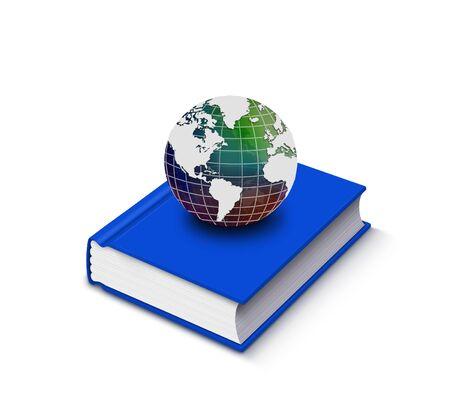 scientific literature: Closed book and globe on white