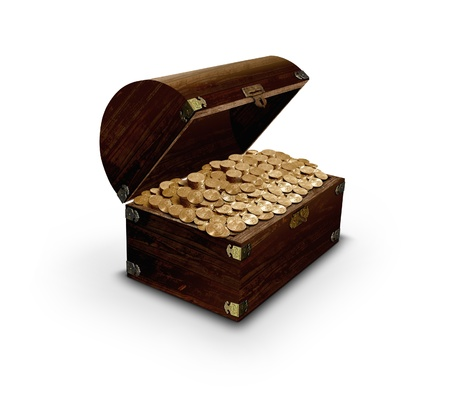 Treasure chest and gold coins photo