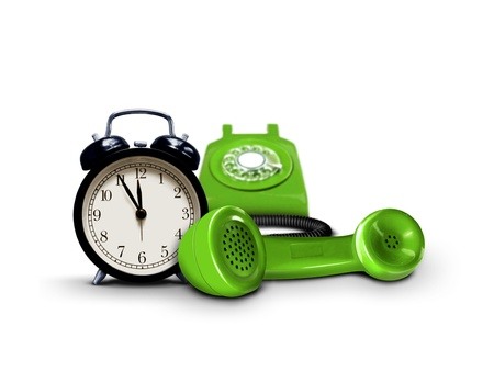 opening hours: Time to call service support Stock Photo